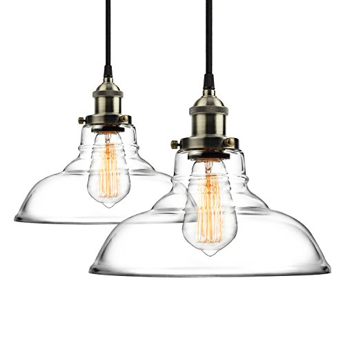 2-Pack Pendant Light Hanging Glass Ceiling Mounted Chandelier Fixture, SHINE (Silver Mini Pendant Canopy)