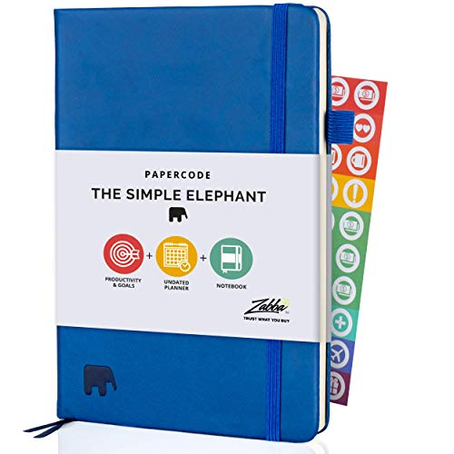 Simple Elephant Productivity Planner - Undated Organizer for 2021-2022 - Daily Work Planner, Goal Journal & Diary - Leatherette Planners and Organizers w/Pen Holder, Stickers & eBooks