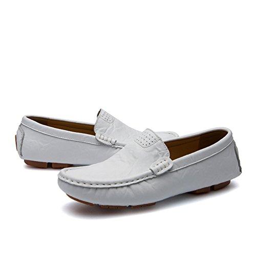 in Scarpe Guida da Barca Retro Traspirante Uomo Slip PU On Bianca Mocassini Loafers da Scarpe Pelle Anguang fCt76qx7