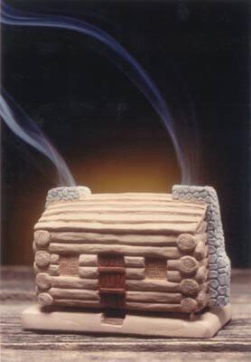 Log Cabin Burner With Pinon Natural Wood Incense - Incienso De Santa Fe