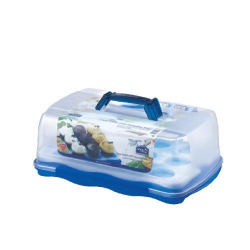 Lock & Lock Rechteckiger Kuchenbehälter mit herausnehmbarem Tablett für Törtchen/Cupcakes, 10 Liter by Lock and Lock