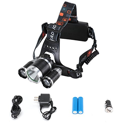 Diateklity Bright LED Headlamp Headlight Flashlight, 4 Modes w/ 3 Cree T6 LED, Waterproof Rechargeable for Outdoor...