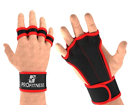 ProFitness Leather Padding Cross Training Gloves with Wrist Support for WODs & Gym Workouts Perfect for Men & Women (Red, Small) (Red Leather Grip)