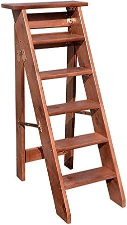 HOMRanger Plegable 6 escalones Taburete/Escalera/Silla Acolchado de Madera Escalera de Uso múltiple Escalera Ligera Herramientas de jardín Carga máxima 150 kg (2 Colores): Amazon.es: Hogar