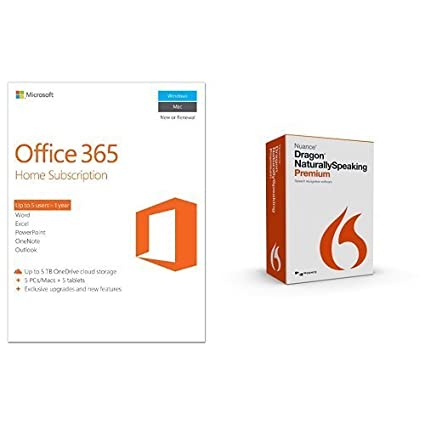 dragon naturallyspeaking premium 13 with microsoft office 365 home 1 year 5 pc or 5