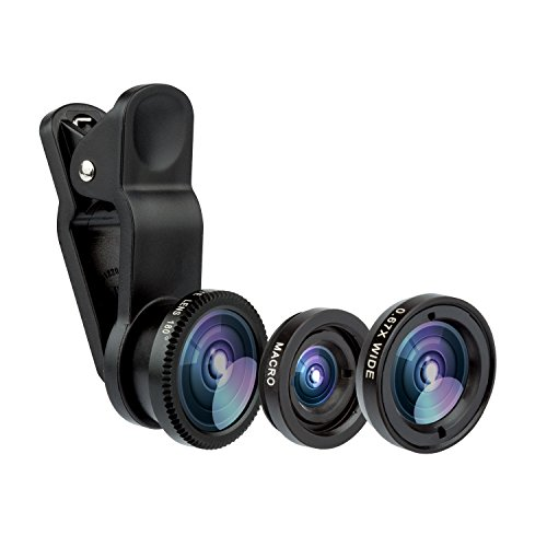 KOLPCTT New Universal 3-IN-1 Mobile Phone Camera Clip Lens, Special Effects Shots, Macro + 180 Degree Supreme Fish Eye + 0.67X Wide Angle + 0.4X Wide Lens, With A Clamp and A Free Flannelette Bag