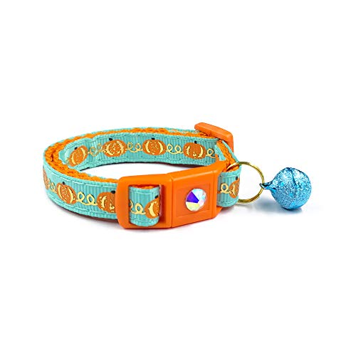 waaag Pet Collars Halloween Multiple Designs, Pumpkins and Gold on Teal Pet Collars for Cats, Adjustable Breakaway Cat Collar with Bell, Small Cat/Kitten Size (Pumpkin and Gold, 6.5