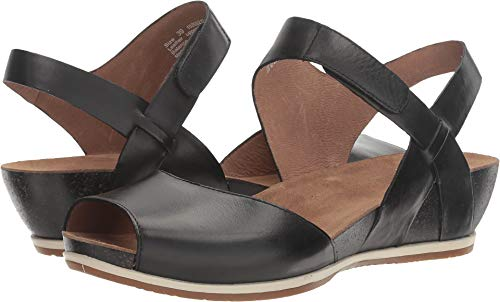 - Dansko Women's Vera Flat Sandal, Black Burnished, 38 M EU (7.5-8 US)