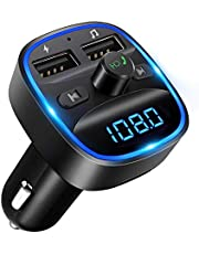 LENCENT FM Transmitter, Bluetooth FM Transmitter Wireless Radio Adapter Car Kit with Dual USB Charging Car Charger MP3 Player Support TF Card & USB Disk