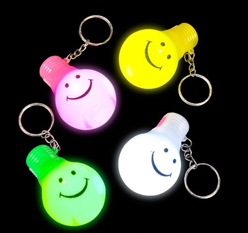 2.5'' LIGHT-UP SMILELY FACE BULB KEYCHAIN, Case of 288