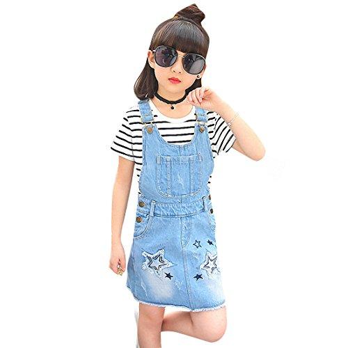 Kidscool Girls Big Bibs Raw Edge Star Summer Overalls Dress,Blue,6-7 Years by Kidscool