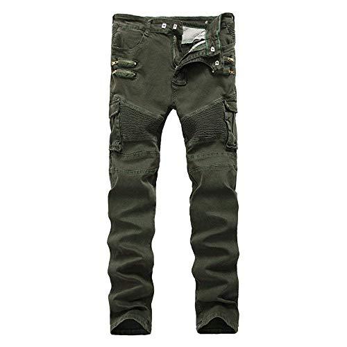 Abbigliamento Uomo Slim Cyclist Tasche Faltig Colour Vintage Jeans Fit Multiple Cargo Stretch Pantaloni Moto Con UZwAzHAxq