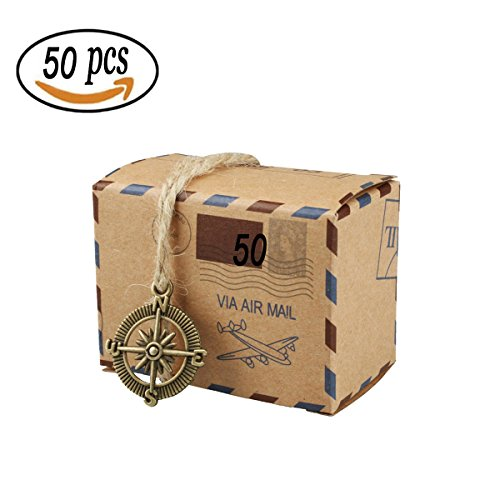 50 PCS Holiday Candy Gift Boxes, Bestga DIY Kraft Boxes Retro Post Mail Style Cookie Gift Boxes Paper Xmas Goody Bags Party Favors for Wedding Birthdays Thanksgiving Graduations Baby Shower - Compass