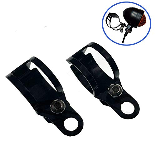 XINDELL 1 Pair Motorcycle Turn Signal Relocation Bracket Metal Motorcycle Modified Turn Signal Light Indicator Mount Fork Clamp Moped Blinker Kit 31-43mm, Black