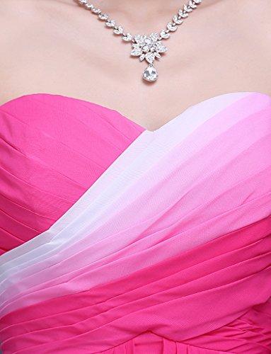 jydress Mujer Ombre plisado gasa de corazones vestidos de fiesta fiesta y de novia albornoz 2016 Rosa