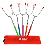 X-Chef Roasting Skewers, Marshmallow Roasting Sticks Hot Dog Forks Extendable 45'' Stainless Steel Telescoping Skewers for Camping Campfire Bonfire Barbecue