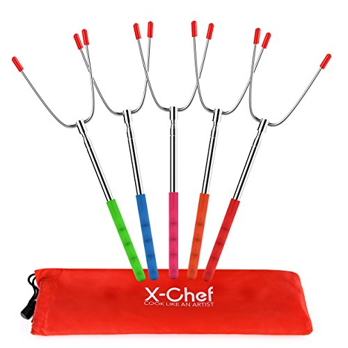 X-Chef Roasting Sticks, Marshmallow Roasting Sticks Hot Dog Forks Extendable 45'' Stainless Steel Telescoping Skewers for Camping Campfire Bonfire (Chef Skewers)