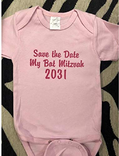 Save the date my bar mitzvah 2032 baby bodysuit infant boy one piece bat mitzvah girl