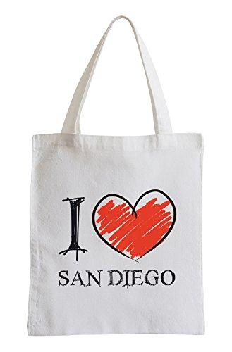 Io amo San Diego Fun sacchetto di iuta