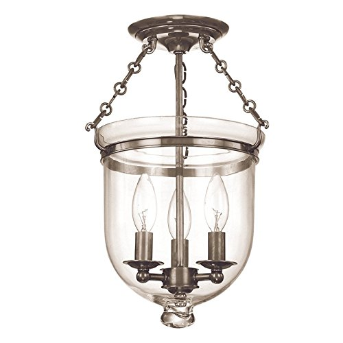 251 Hampton 3 Light - Hampton 3-Light Semi Flush - Historic Nickel Finish with Clear Glass Shade
