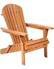 Adirondack Chair Patio Chairs Lawn Chair Folding Adirondack Chair Outdoor Chairs Patio Seating Fire Pit Chairs Wood Chairs Furniture Weather Resistant for Adults Yard Garden, Natural