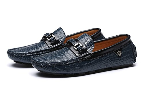 Tda Manar Nytt Mode Halka På Krokodil Läder Driver Affärs Öre Loafers Båt Skor Blå