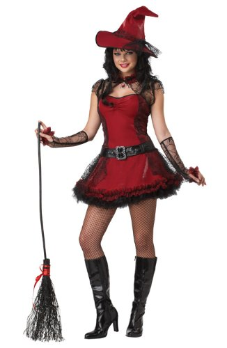 California Costumes Mischievous Witch Teen Dress, Red/Black, 11-13 (Red Witch Costume)