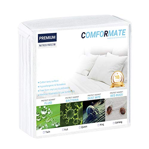 Sheepping Premium Hypoallergenic Mattress Protector, Cotton Terry Surface, Waterproof/Bed Bug/Dust Mite Proof, Vinyl Free-10 Years Warranty (Queen)