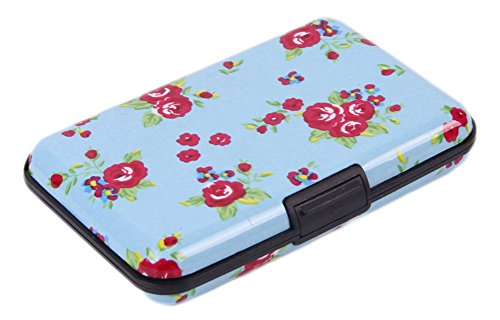 Aluminum RFID Blocking Wallet Identity Protection Travel Floral Printing Credit Card Holder - Business Card Case - Google Versace