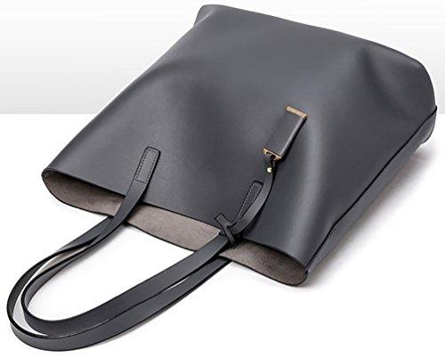 Capacity Faux Large Big Shoulder Set Bag 2 Ladies pcs Bag Handbag Leather Grey Black Tote 8H0Hdq4w