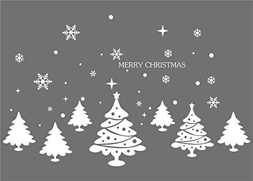 Iusun Seven Merry Christmas Trees Wall Stickers Window Decals Bedroom Living Room Restaurant Mall Xmas Decoration (White) -
