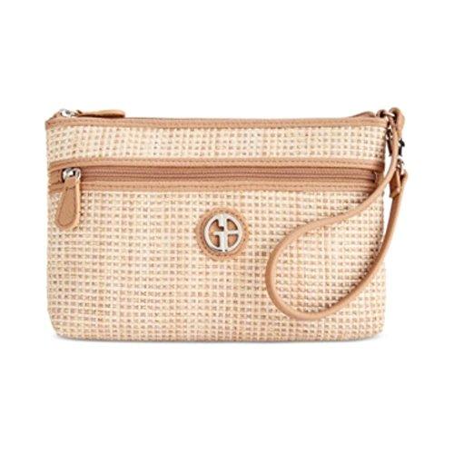 Giani Bernini Womens Metallic Faux Leather Wristlet Handbag Tan Small Bernini Womens Handbag