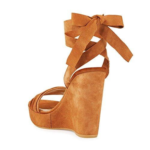 Ydn Donne Allacciate Sandali Con Zeppa Tacco Alto Open Toe Platform Shoes Per Party Prom Arancione