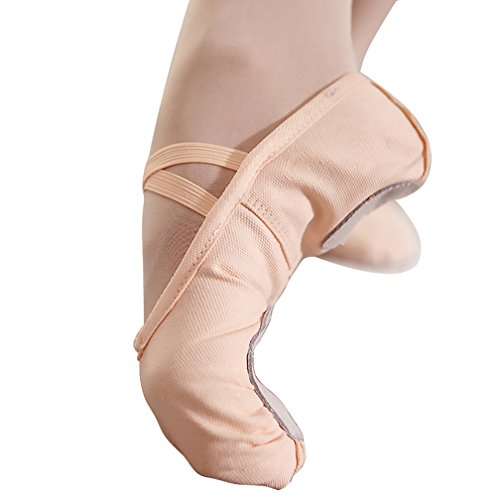 Ballet Flats for Women Canvas Ballet Shoes Ballet Slippers Shoes Split Sole Yoga Dance Shoes Nude