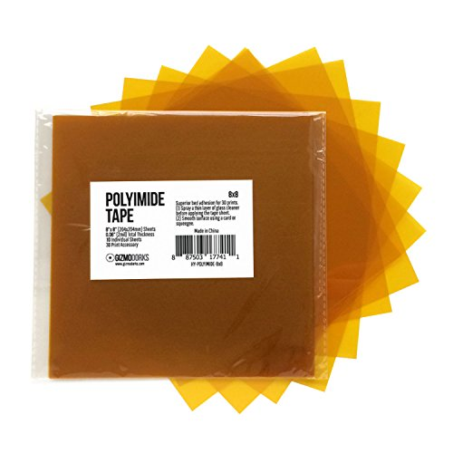 Gizmo Dorks Kapton Tape (Polyimide) for 3D Printers and Printing, 8 x 8 inches, 10 sheets per pack by Gizmo Dorks