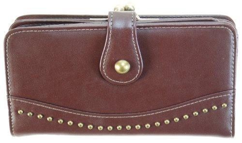Faded Glory Wallet With Metal Frame LARGE - Mundi (Brown) - Mundi Brown Handbag