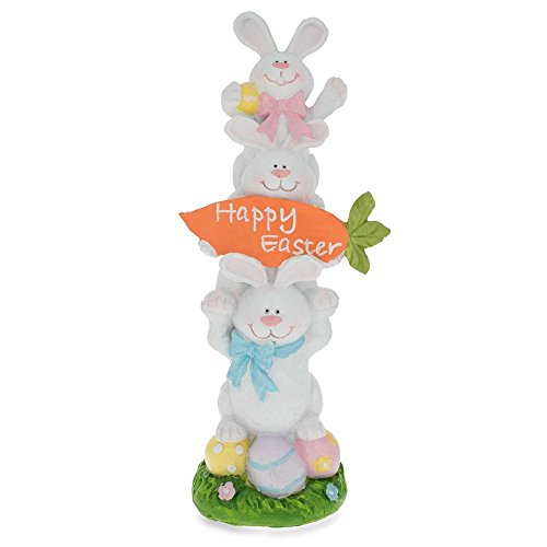 "13"" Three Bunnies Holding Happy Easter Carrot Sign Figurine"