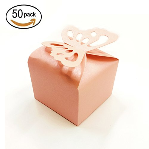 Price comparison product image Pink Cube Candy Treat Boxes Set Butterfly Gift Box Bulk Wedding Party Favors Mother's Day Baby Shower Party Supplies 2x2x2 inch, 50pc