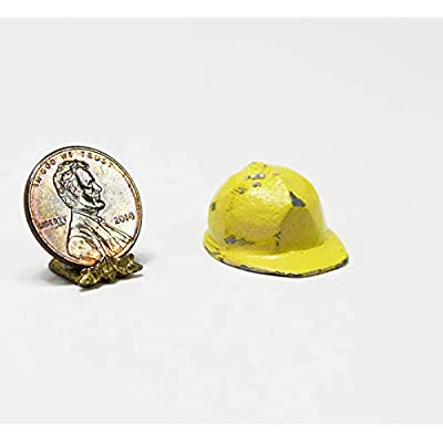 Island Crafts & Miniatures Dollhouse Miniature Worn Look Yellow Hard Hat or Construction Hat: Toys & Games