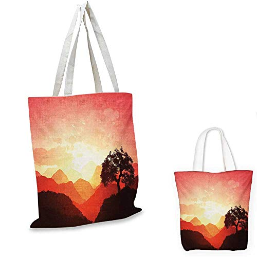 Mystic fashion shopping tote bag Magical Oriental Sunset View with Tree and Mountains Mystique Hills canvas bag shopping Coral Orange Dark Brown. 12