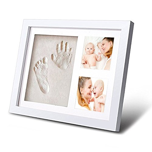 CISC Baby Handprint and Footprint 12' x 10' Keepsake Picture Frame- Frame Kits & Non-Toxic Clay! Best Gift in Baby Shower! Perfect Item for Registry! Personalized Album for Baby Boys & Girls!