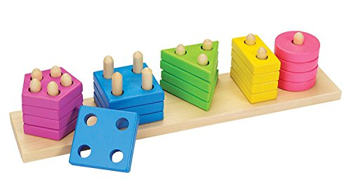 - Geometric Stacker - Wooden Educational Toy for Early Learning and Brain Development