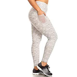 ShoSho Womens Plus Size Leggings Yoga Pants High Waist Sports Tights with Side Mesh Phone Pockets Space Dye Print White/Grey 1X/2X