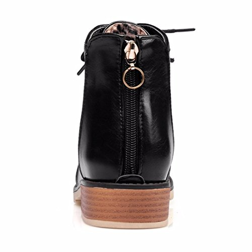 boots round academy boots winter Martin Autumn boots Black short big head size single XxSIRqawO
