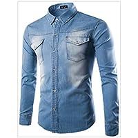 Iumer Men's Long Sleeve Western Denim Shirt Casual Denim Shirts Long Sleeve Washed Men Slim Fit Jeans Shirt Light Blue