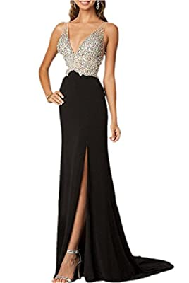 Little Star Women's Spandex Long Prom Dress Side Slit Party Ball Gown