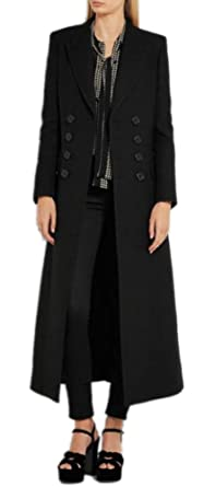 53d13a43ab77 Amazon.com  Women s Vintage Double Breasted Long Wool Coat Maxi Length Black  Military Jacket  Clothing