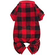 SCENEREAL Pet Fleece Pajamas for Dogs Red Plaid Sweaters Soft Clothes, S
