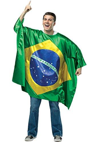 [Flag Tunic Brazil Costume - One Size - Chest Size 42-48] (Brazil Costume Male)