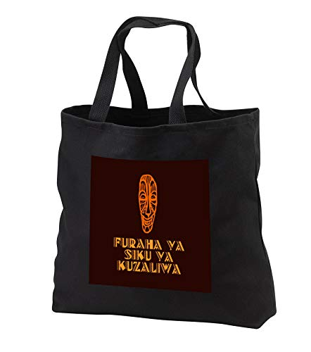 Alexis Design - Africa in Swahili - Image of African mask and Happy birthday in Swahili on brown - Tote Bags - Black Tote Bag 14w x 14h x 3d (tb_288846_1) by 3dRose